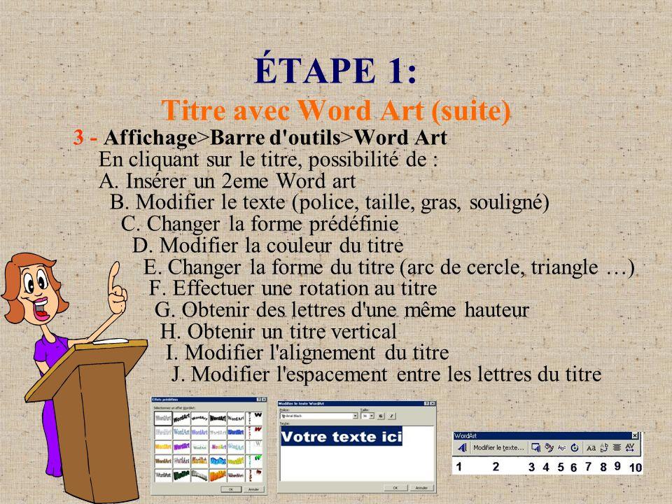 ÉTAPE 1: Titre avec Word Art (suite) 3 - Affichage>Barre d'outils>Word Art En cliquant sur le titre, possibilité de : A. Insérer un 2eme Word art B. M