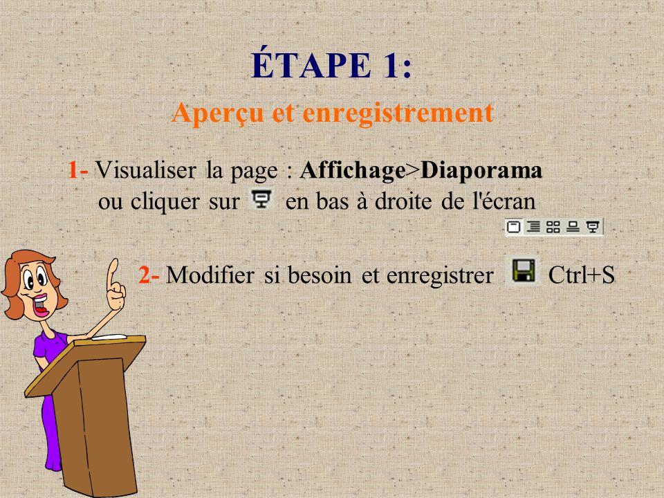 ÉTAPE 1: Aperçu et enregistrement 1- Visualiser la page : Affichage>Diaporama ou cliquer sur en bas à droite de l'écran 2- Modifier si besoin et enreg