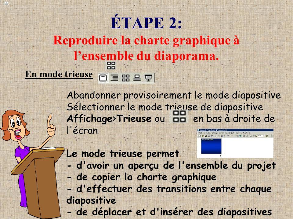 ÉTAPE 2: Reproduire la charte graphique à lensemble du diaporama. En mode trieuse Abandonner provisoirement le mode diapositive Sélectionner le mode t