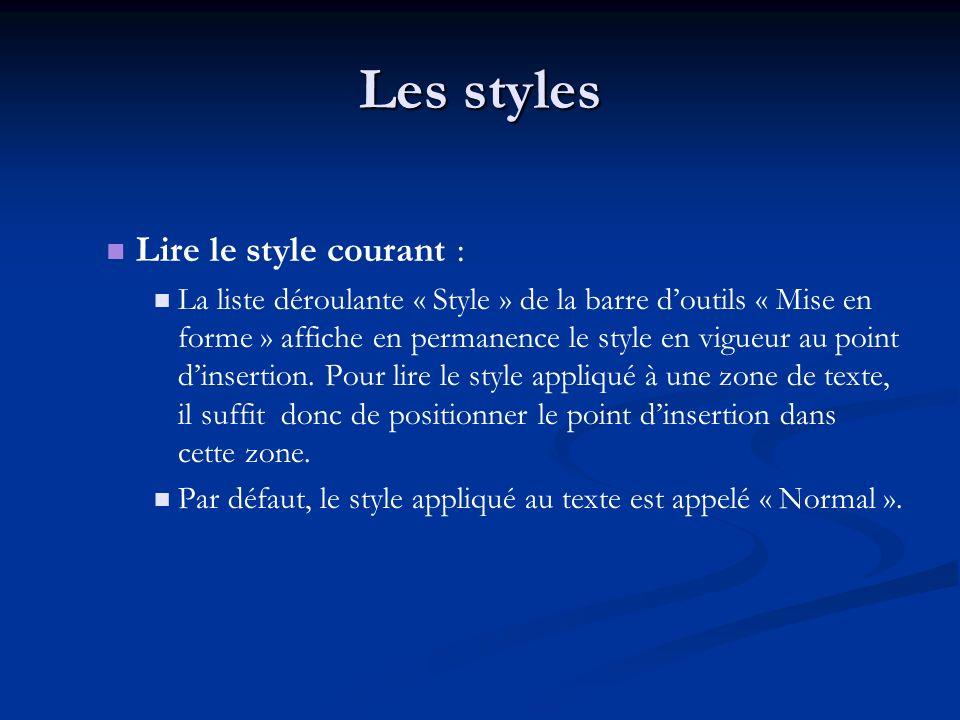 Les styles Lire le style courant : La liste déroulante « Style » de la barre doutils « Mise en forme » affiche en permanence le style en vigueur au point dinsertion.