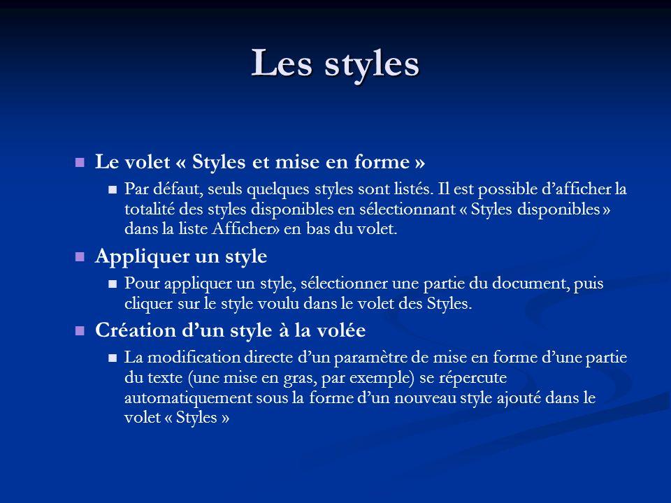 Les styles Le volet « Styles et mise en forme » Par défaut, seuls quelques styles sont listés.