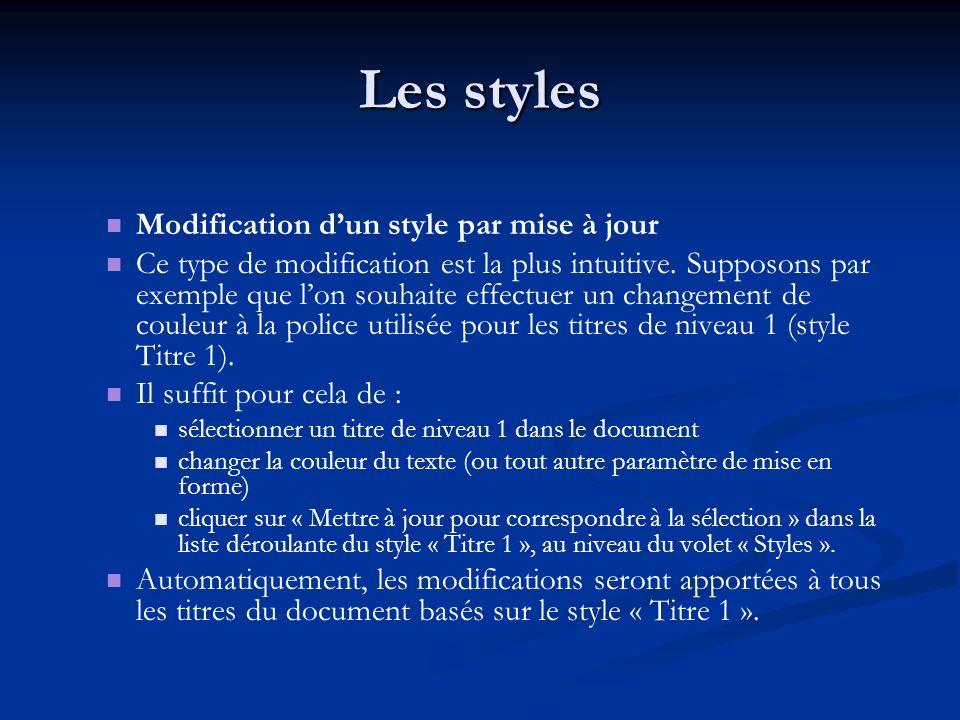 Les styles Modification dun style par mise à jour Ce type de modification est la plus intuitive.