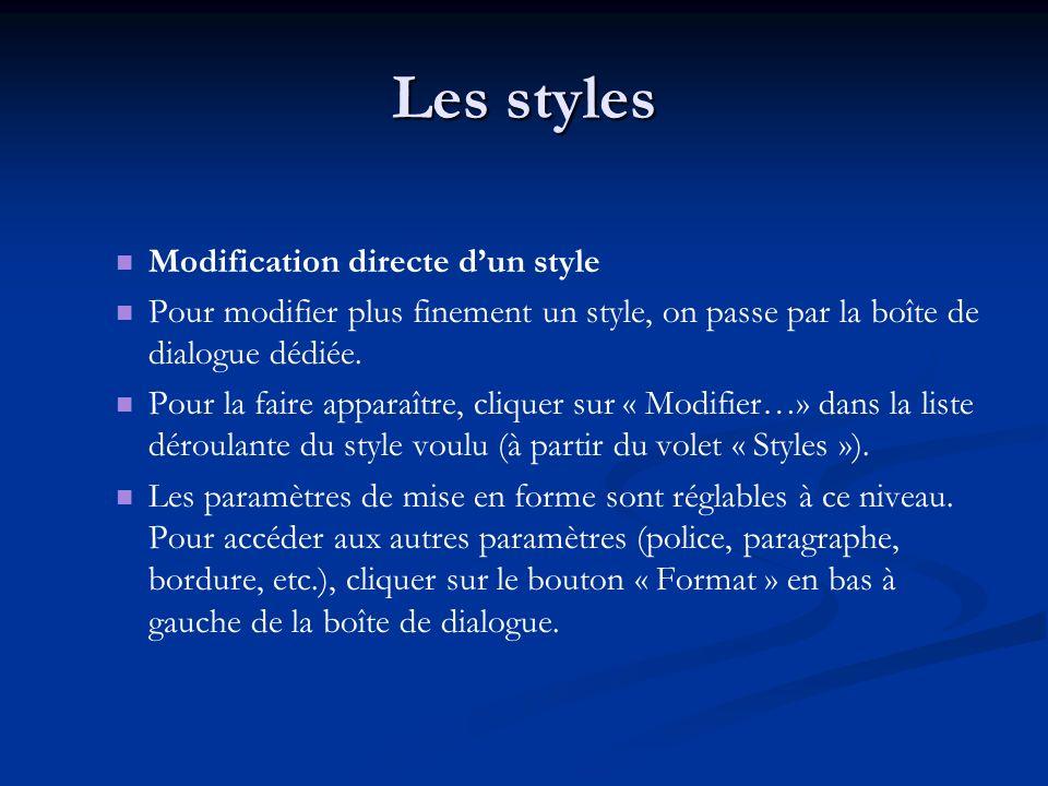 Les styles Modification directe dun style Pour modifier plus finement un style, on passe par la boîte de dialogue dédiée.