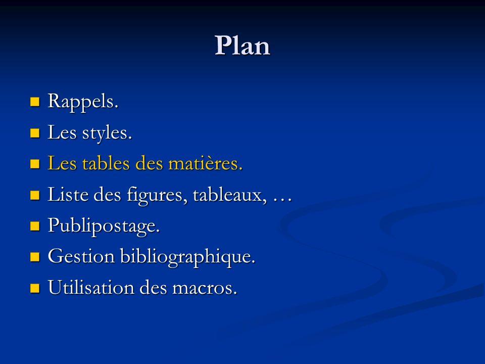 Plan Rappels. Rappels. Les styles. Les styles. Les tables des matières.