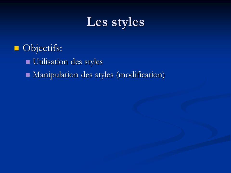 Les styles Objectifs: Objectifs: Utilisation des styles Utilisation des styles Manipulation des styles (modification) Manipulation des styles (modific