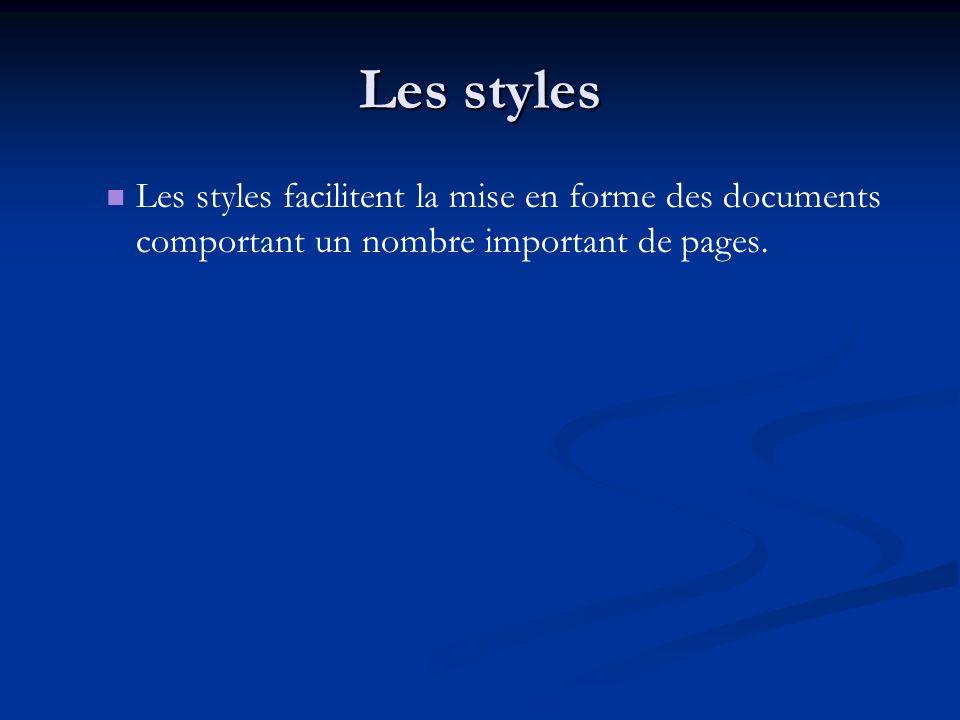 Les styles Les styles facilitent la mise en forme des documents comportant un nombre important de pages.