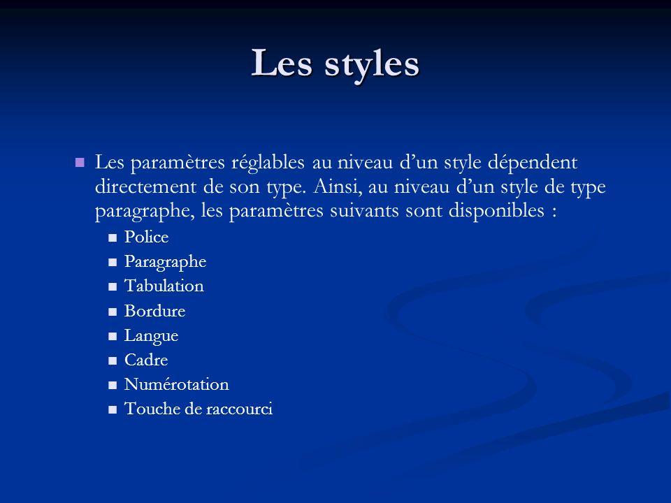 Les styles Les paramètres réglables au niveau dun style dépendent directement de son type.