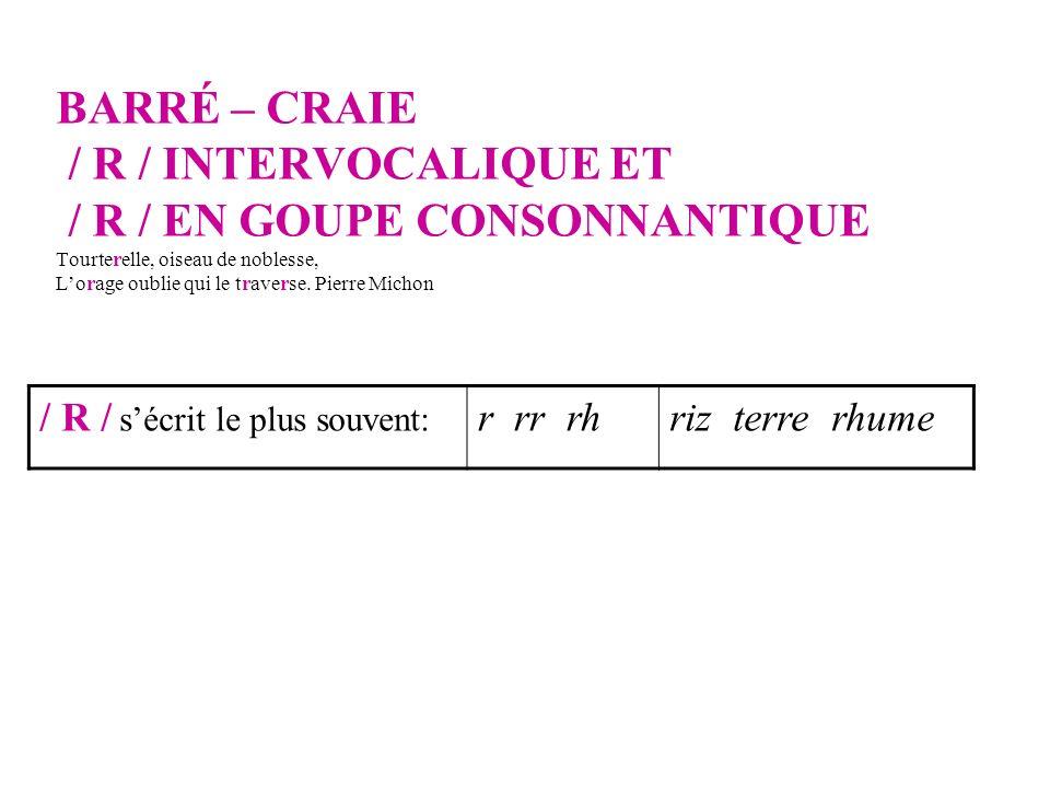 BARRÉ – CRAIE / R / INTERVOCALIQUE ET / R / EN GOUPE CONSONNANTIQUE Tourterelle, oiseau de noblesse, Lorage oublie qui le traverse.