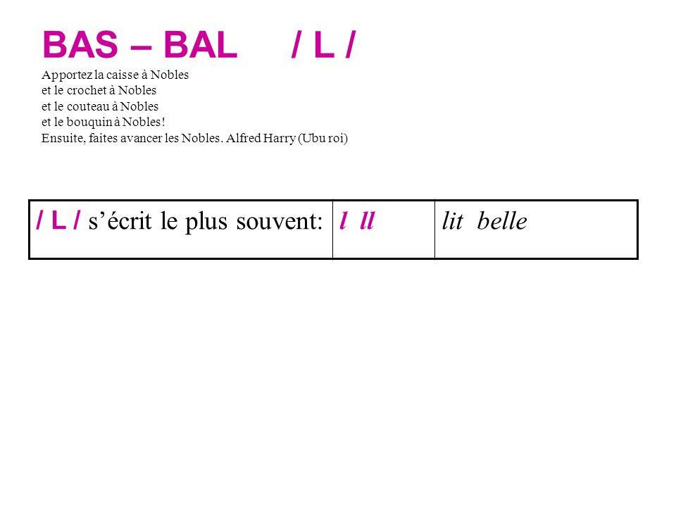 BAS – BAL / L / Apportez la caisse à Nobles et le crochet à Nobles et le couteau à Nobles et le bouquin à Nobles.