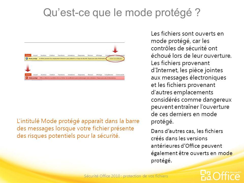 Quest-ce que le mode protégé ? Sécurité Office 2010 : protection de vos fichiers Lintitulé Mode protégé apparaît dans la barre des messages lorsque vo