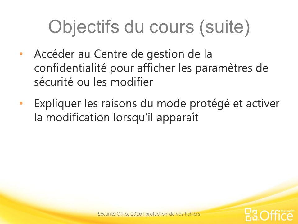 Objectifs du cours (suite) Accéder au Centre de gestion de la confidentialité pour afficher les paramètres de sécurité ou les modifier Expliquer les r