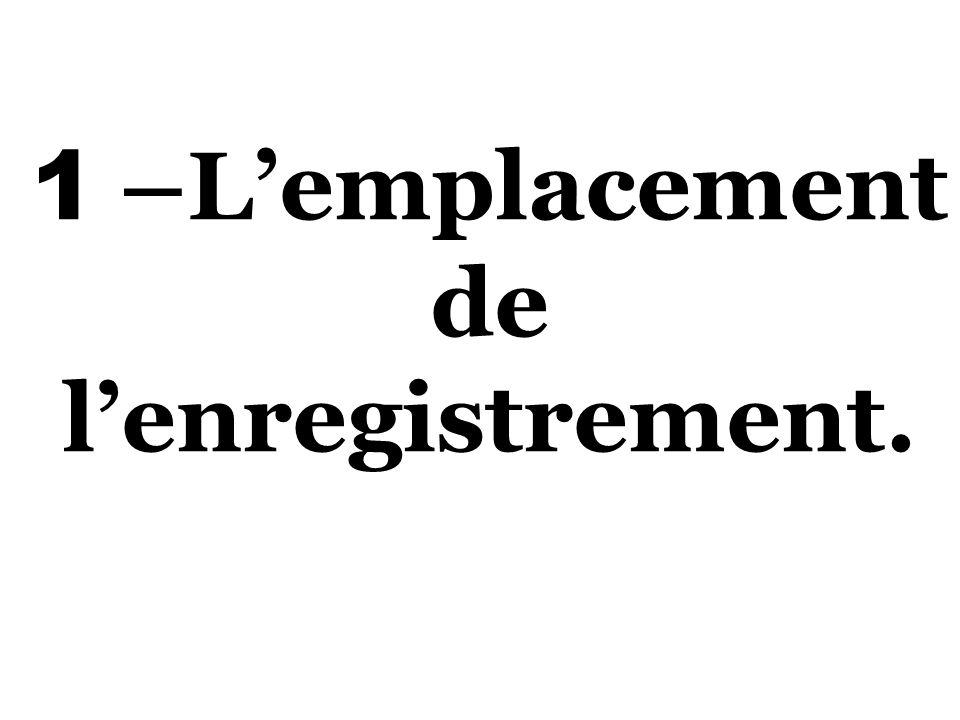 1 –Lemplacement de lenregistrement.