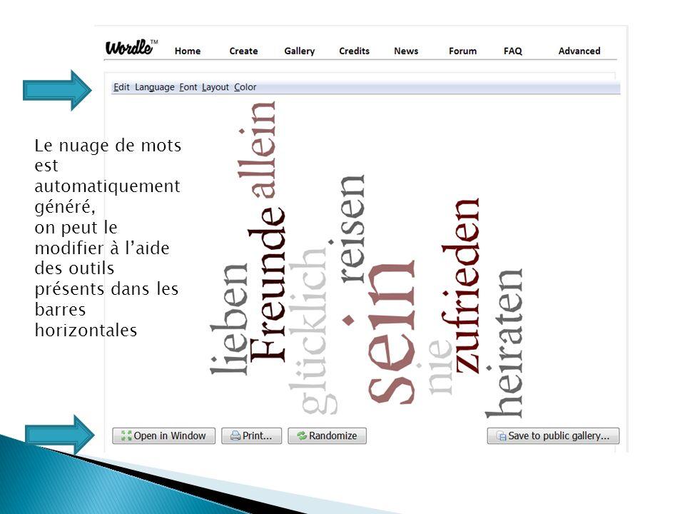 Le nuage de mots est automatiquement généré, on peut le modifier à laide des outils présents dans les barres horizontales