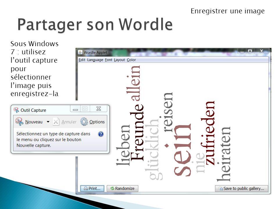 Sous Windows 7 : utilisez loutil capture pour sélectionner limage puis enregistrez-la Enregistrer une image