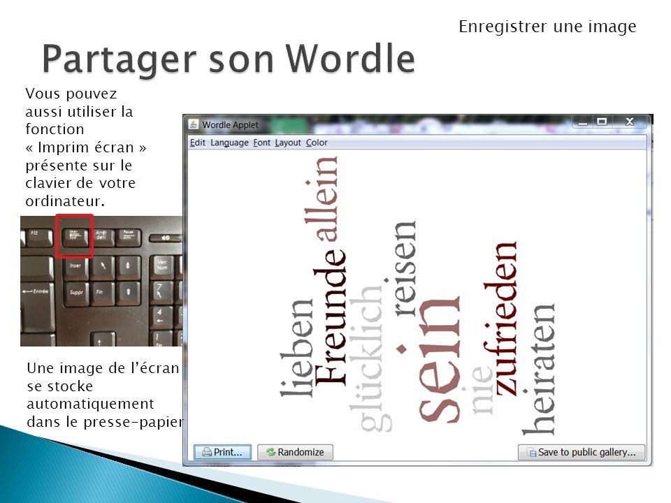 Vous pouvez aussi utiliser la fonction « Imprim écran » présente sur le clavier de votre ordinateur. Une image de lécran se stocke automatiquement dan