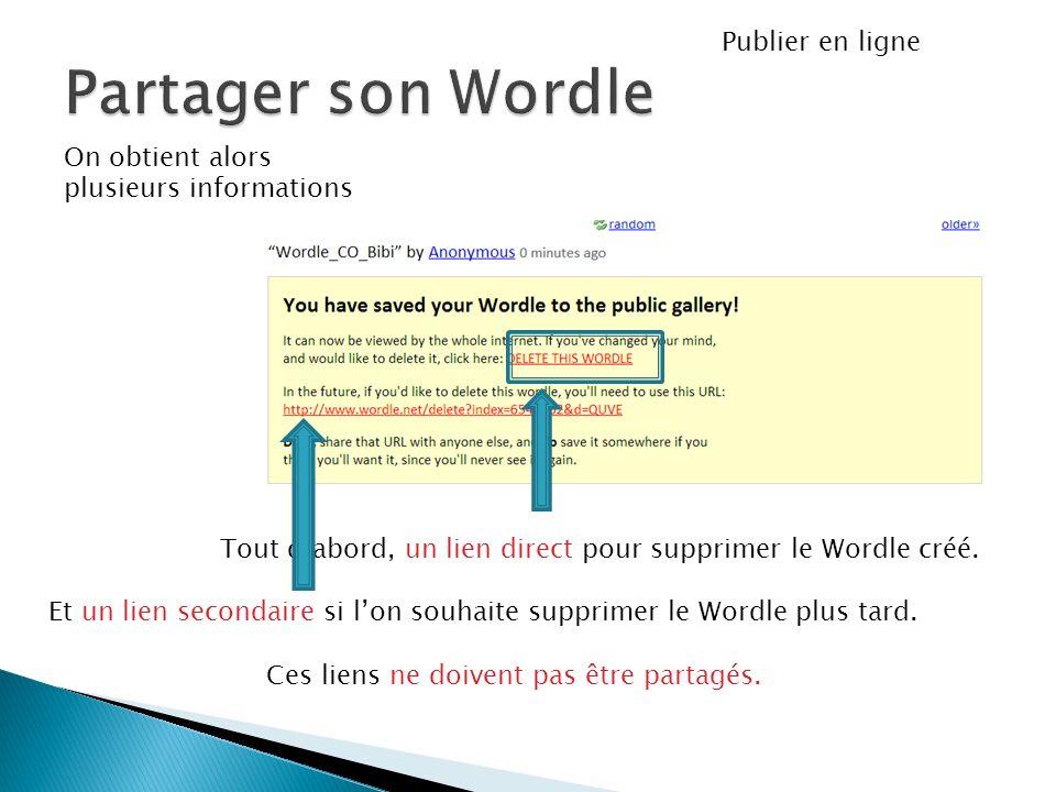On obtient alors plusieurs informations Publier en ligne Tout dabord, un lien direct pour supprimer le Wordle créé. Et un lien secondaire si lon souha