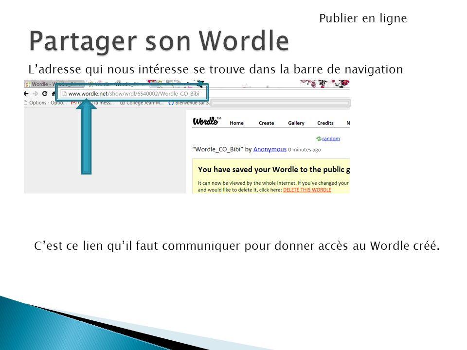 Ladresse qui nous intéresse se trouve dans la barre de navigation Publier en ligne Cest ce lien quil faut communiquer pour donner accès au Wordle créé