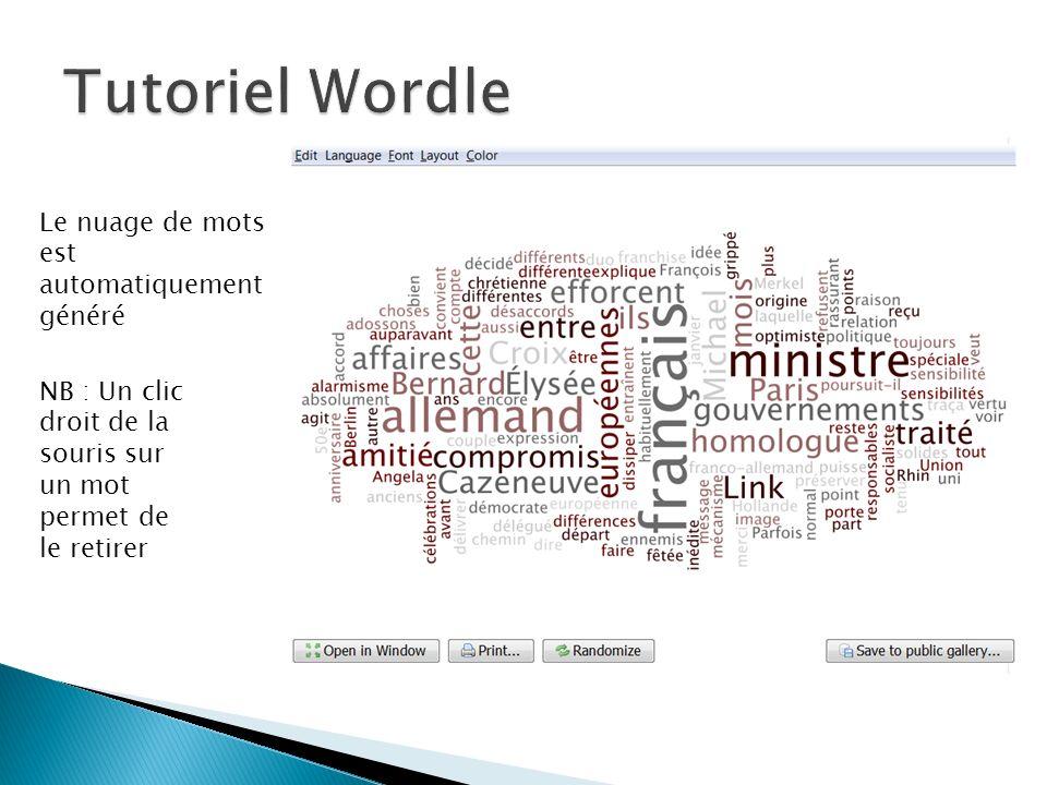 Le nuage de mots est automatiquement généré NB : Un clic droit de la souris sur un mot permet de le retirer