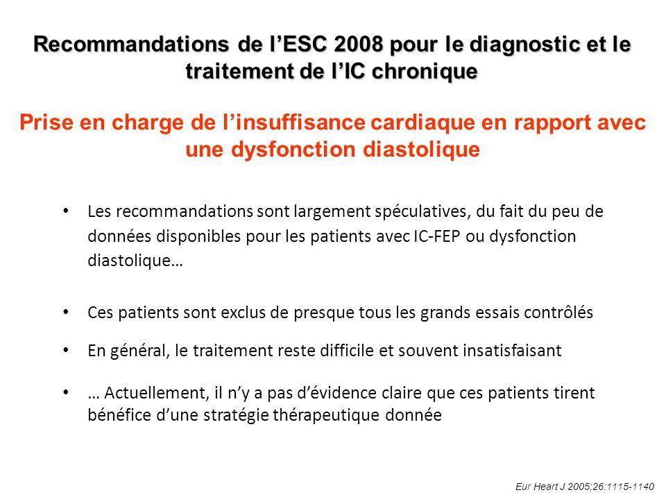 Les recommandations sont largement spéculatives, du fait du peu de données disponibles pour les patients avec IC-FEP ou dysfonction diastolique… Ces patients sont exclus de presque tous les grands essais contrôlés En général, le traitement reste difficile et souvent insatisfaisant … Actuellement, il ny a pas dévidence claire que ces patients tirent bénéfice dune stratégie thérapeutique donnée Eur Heart J 2005;26:1115-1140 Recommandations de lESC 2008 pour le diagnostic et le traitement de lIC chronique Prise en charge de linsuffisance cardiaque en rapport avec une dysfonction diastolique