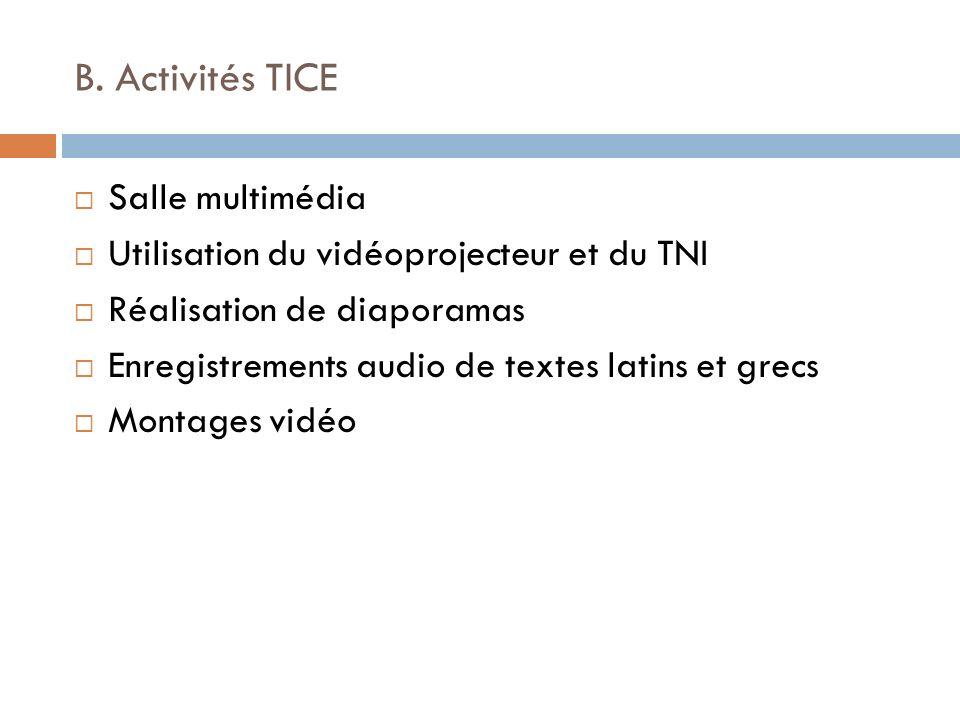 B. Activités TICE Salle multimédia Utilisation du vidéoprojecteur et du TNI Réalisation de diaporamas Enregistrements audio de textes latins et grecs
