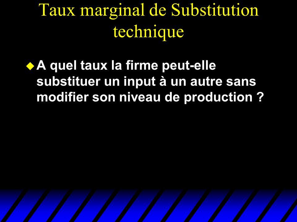 Taux marginal de Substitution technique A quel taux la firme peut-elle substituer un input à un autre sans modifier son niveau de production ?