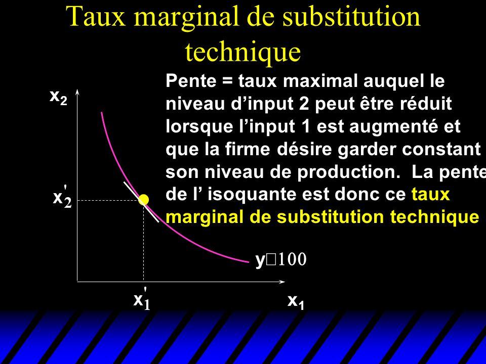 x2x2 x1x1 y Pente = taux maximal auquel le niveau dinput 2 peut être réduit lorsque linput 1 est augmenté et que la firme désire garder constant son n