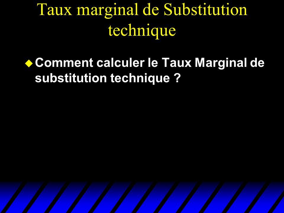 Taux marginal de Substitution technique Comment calculer le Taux Marginal de substitution technique ?