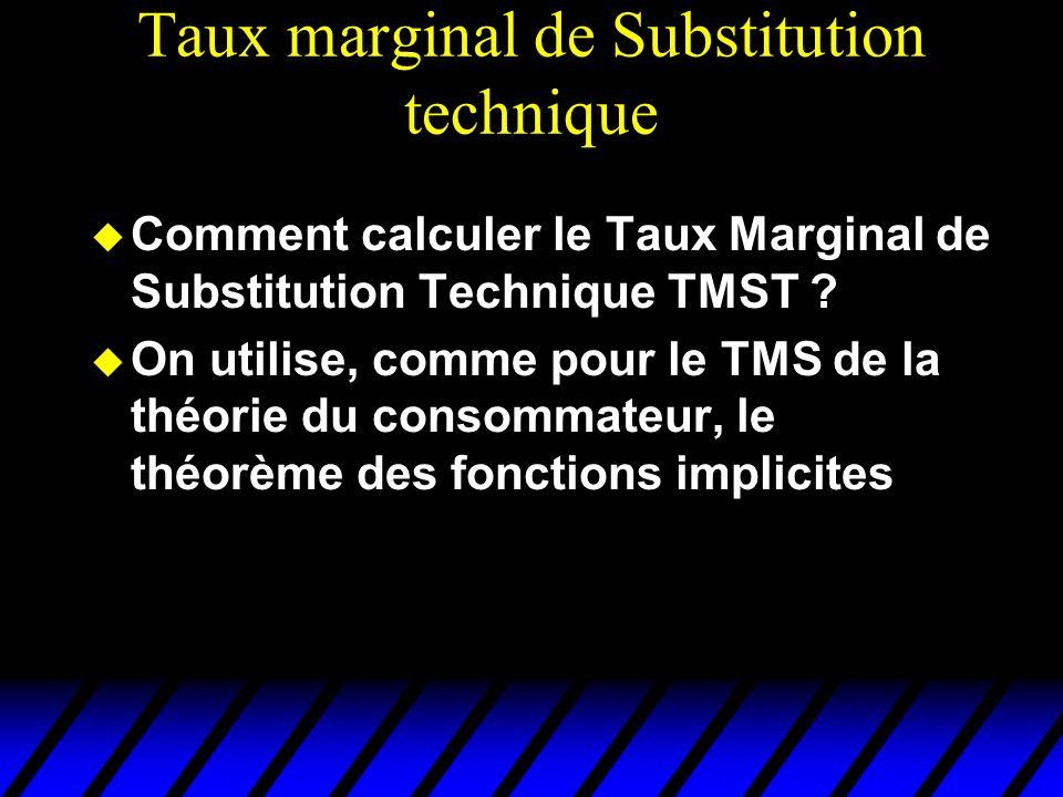 Taux marginal de Substitution technique Comment calculer le Taux Marginal de Substitution Technique TMST ? On utilise, comme pour le TMS de la théorie