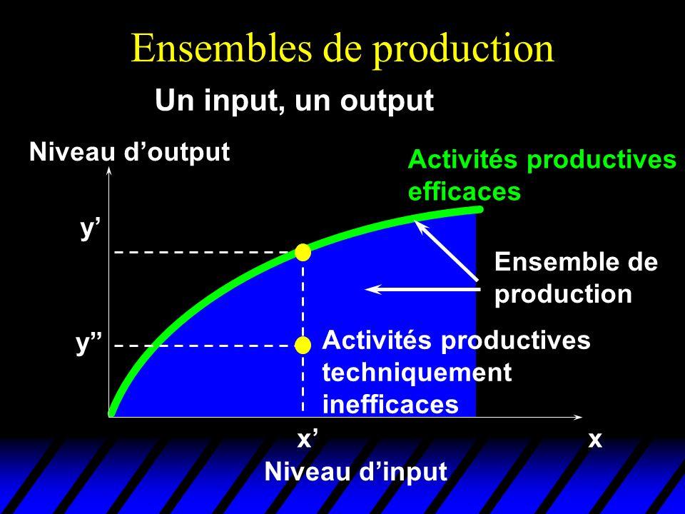 Ensembles de production xx Niveau dinput Niveau doutput y Un input, un output y Ensemble de production Activités productives techniquement inefficaces Activités productives efficaces