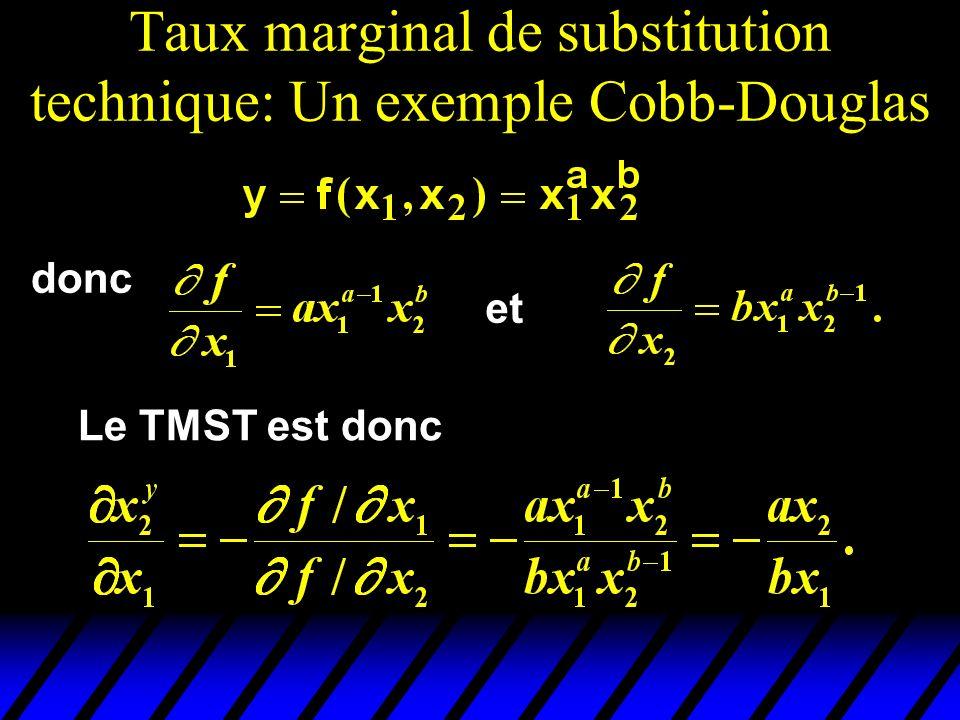 Taux marginal de substitution technique: Un exemple Cobb-Douglas donc et Le TMST est donc