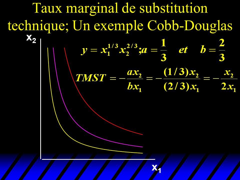 x2x2 x1x1 Taux marginal de substitution technique; Un exemple Cobb-Douglas
