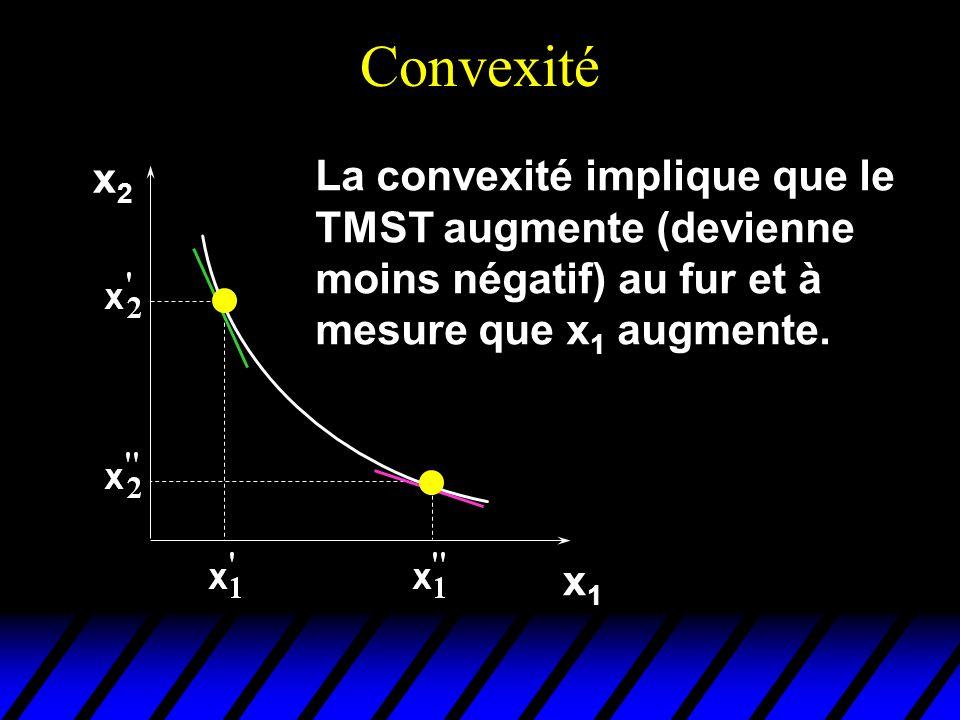 x2x2 x1x1 La convexité implique que le TMST augmente (devienne moins négatif) au fur et à mesure que x 1 augmente.