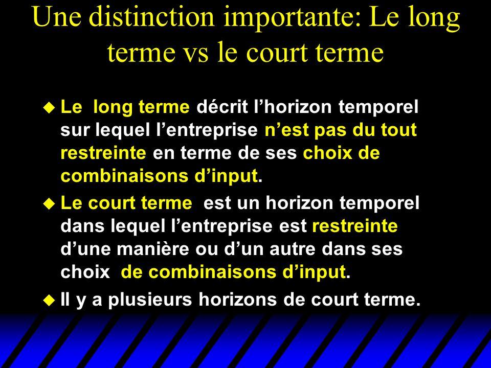 Une distinction importante: Le long terme vs le court terme Le long terme décrit lhorizon temporel sur lequel lentreprise nest pas du tout restreinte en terme de ses choix de combinaisons dinput.