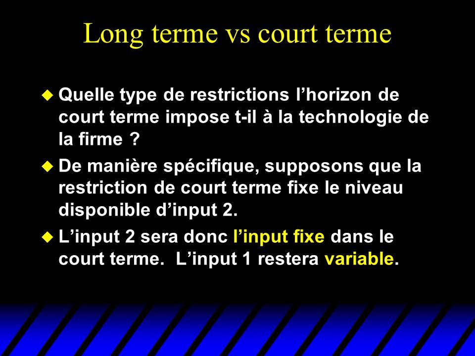 Long terme vs court terme Quelle type de restrictions lhorizon de court terme impose t-il à la technologie de la firme ? De manière spécifique, suppos