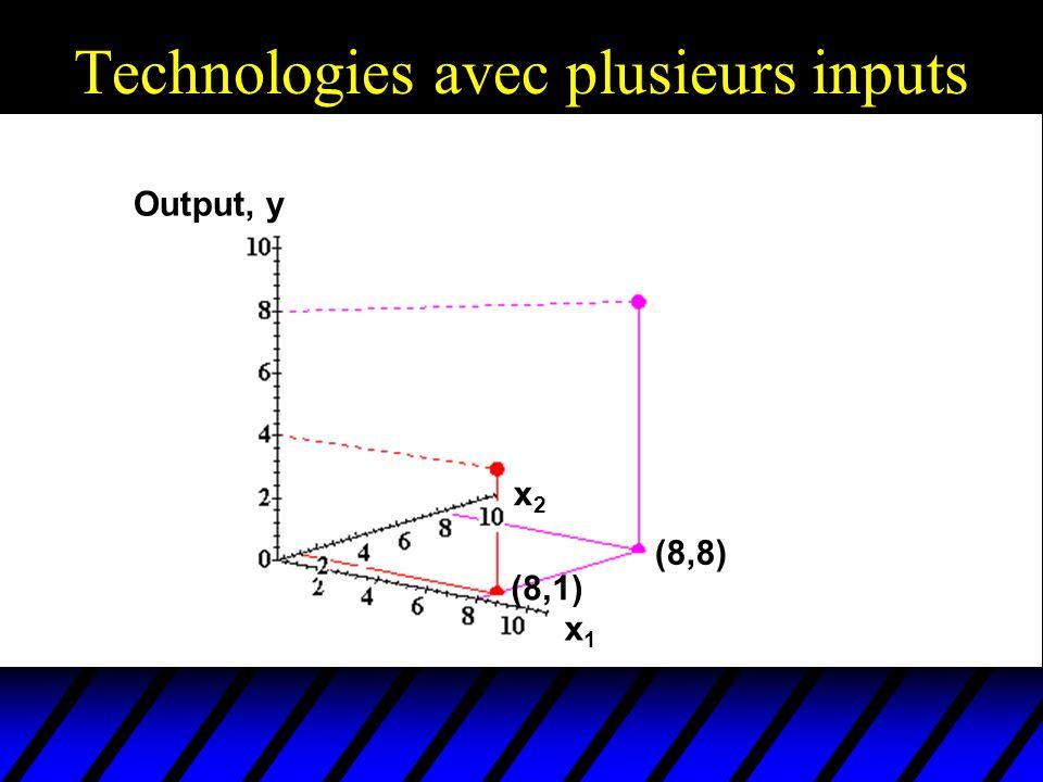 Technologies avec plusieurs inputs Output, y x1x1 x2x2 (8,1) (8,8)