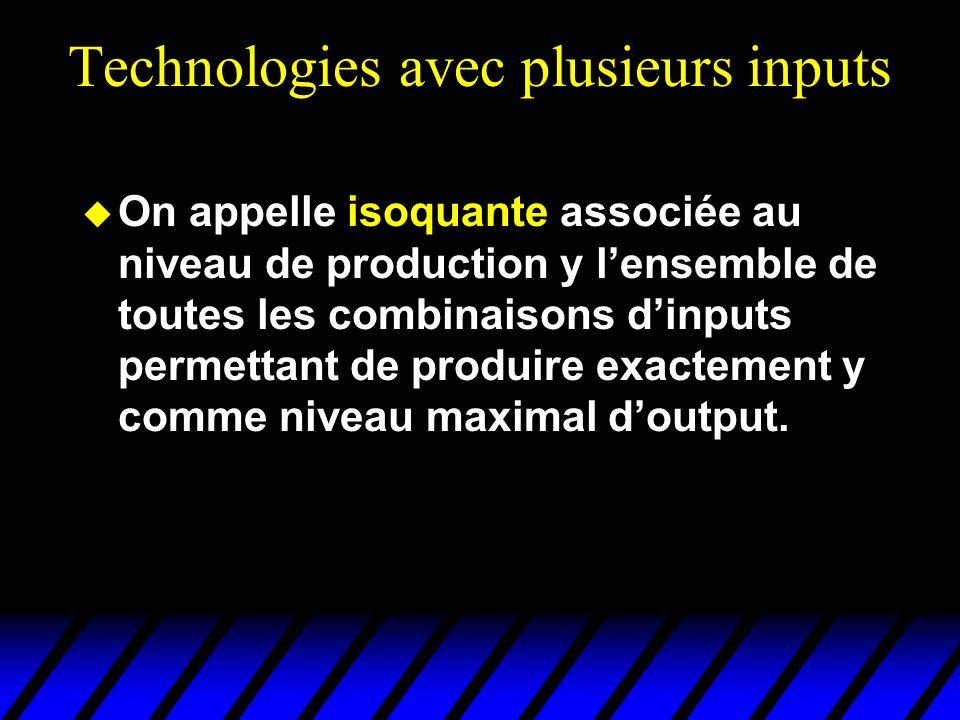 Technologies avec plusieurs inputs On appelle isoquante associée au niveau de production y lensemble de toutes les combinaisons dinputs permettant de produire exactement y comme niveau maximal doutput.