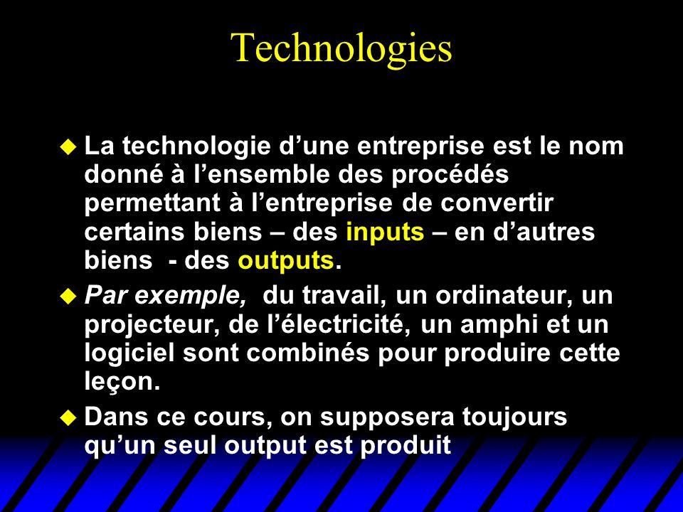 Technologies Il y a en général plusieurs moyens différents de produire le même bien (par exemple, on peut également produire une leçon de microéconomie en remplaçant lordinateur, le logiciel et le projecteur par un tableau et des craies).