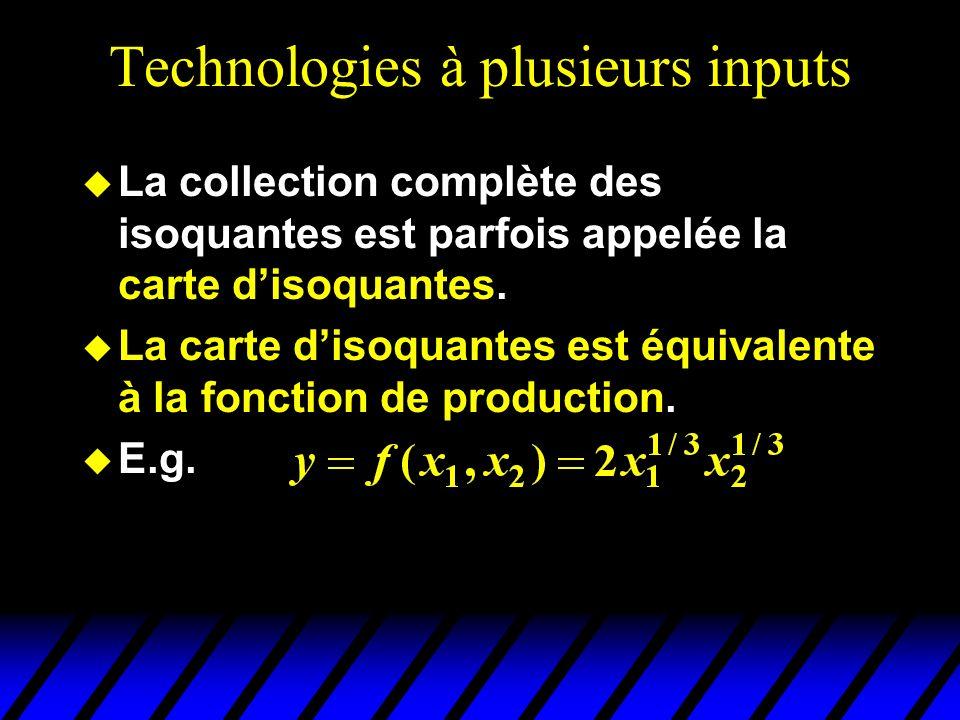 Technologies à plusieurs inputs La collection complète des isoquantes est parfois appelée la carte disoquantes. La carte disoquantes est équivalente à