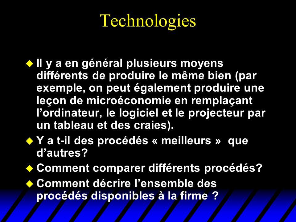 Technologies Il y a en général plusieurs moyens différents de produire le même bien (par exemple, on peut également produire une leçon de microéconomi