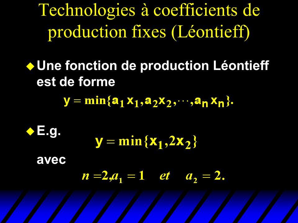 Technologies à coefficients de production fixes (Léontieff) Une fonction de production Léontieff est de forme E.g. avec