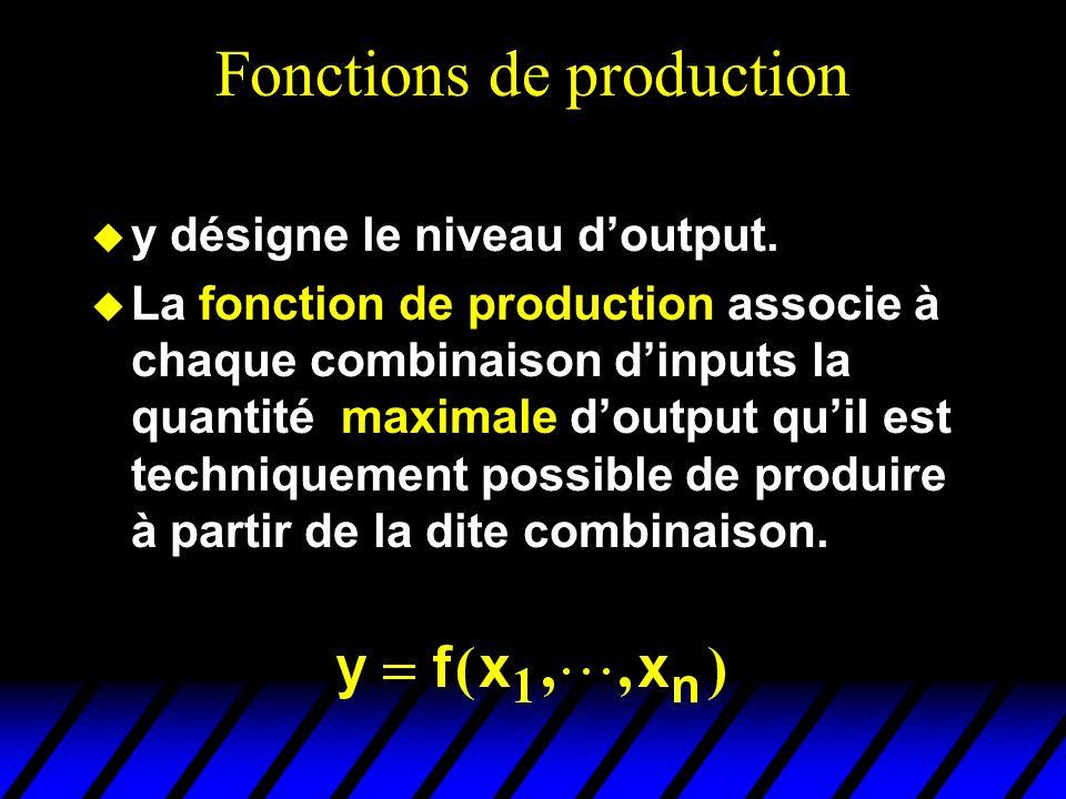 Fonctions de production y désigne le niveau doutput. La fonction de production associe à chaque combinaison dinputs la quantité maximale doutput quil