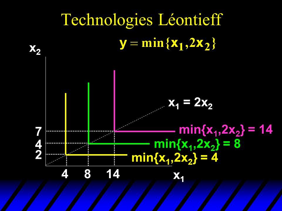 Technologies Léontieff x2x2 x1x1 min{x 1,2x 2 } = 14 4814 2 4 7 min{x 1,2x 2 } = 8 min{x 1,2x 2 } = 4 x 1 = 2x 2
