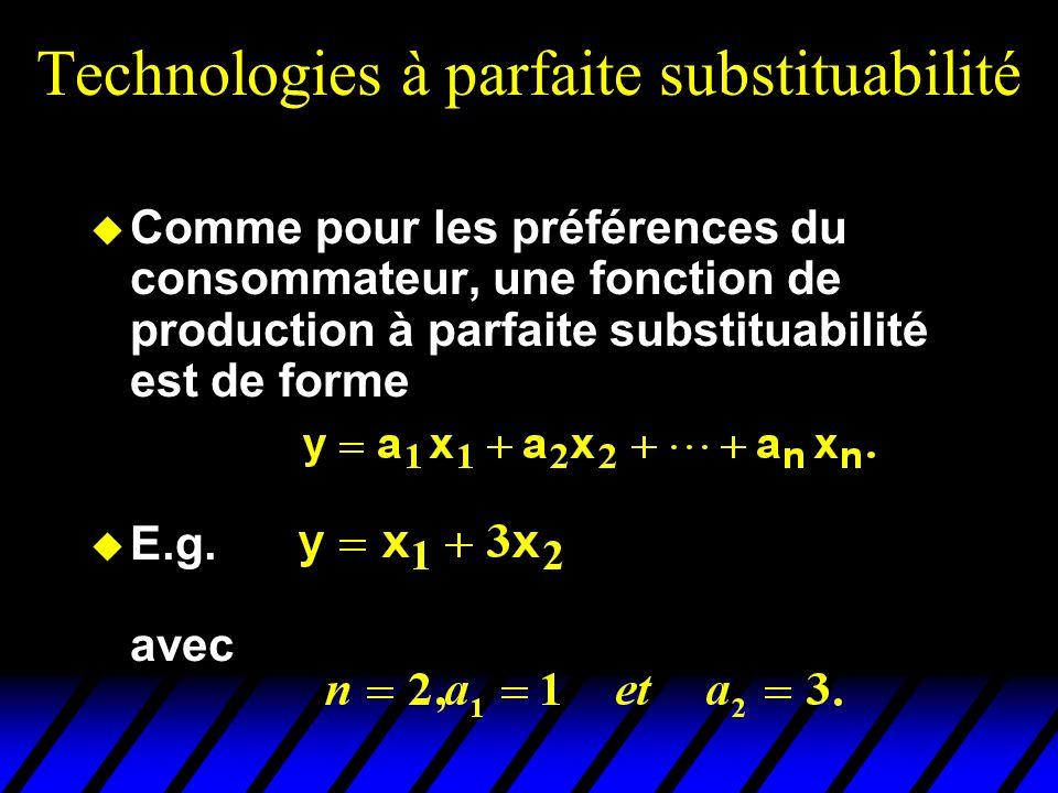 Technologies à parfaite substituabilité Comme pour les préférences du consommateur, une fonction de production à parfaite substituabilité est de forme E.g.