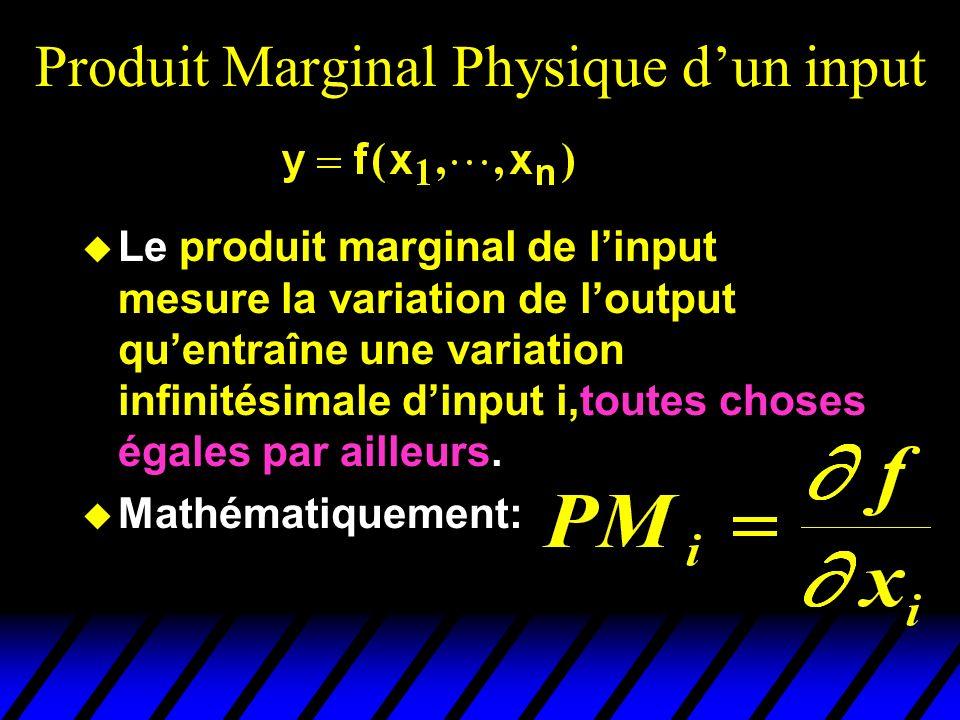 Produit Marginal Physique dun input Le produit marginal de linput mesure la variation de loutput quentraîne une variation infinitésimale dinput i,toutes choses égales par ailleurs.