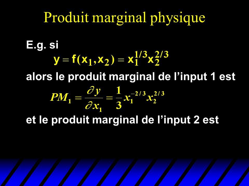 Produit marginal physique E.g. si alors le produit marginal de linput 1 est et le produit marginal de linput 2 est