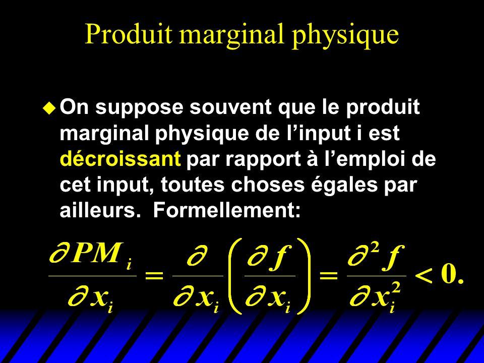 Produit marginal physique On suppose souvent que le produit marginal physique de linput i est décroissant par rapport à lemploi de cet input, toutes choses égales par ailleurs.