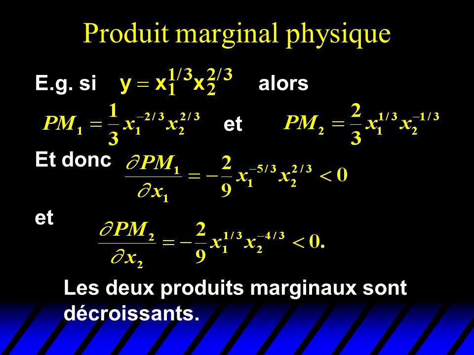 Produit marginal physique et E.g. sialors Et donc et Les deux produits marginaux sont décroissants.