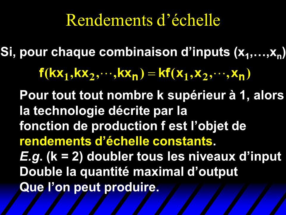 Rendements déchelle Si, pour chaque combinaison dinputs (x 1,…,x n ), Pour tout tout nombre k supérieur à 1, alors la technologie décrite par la fonct