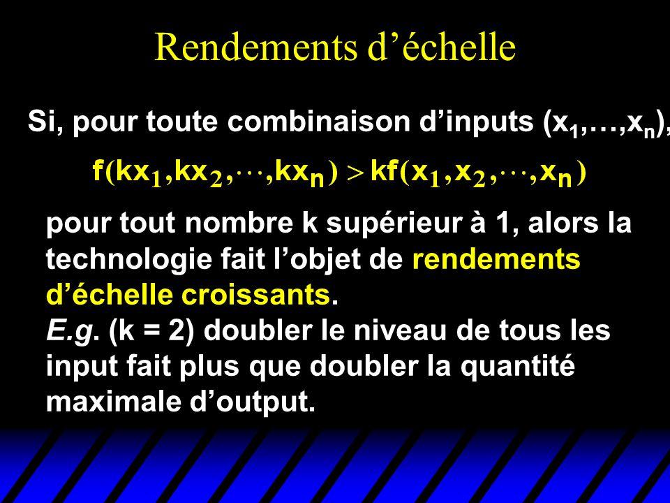Rendements déchelle Si, pour toute combinaison dinputs (x 1,…,x n ), pour tout nombre k supérieur à 1, alors la technologie fait lobjet de rendements
