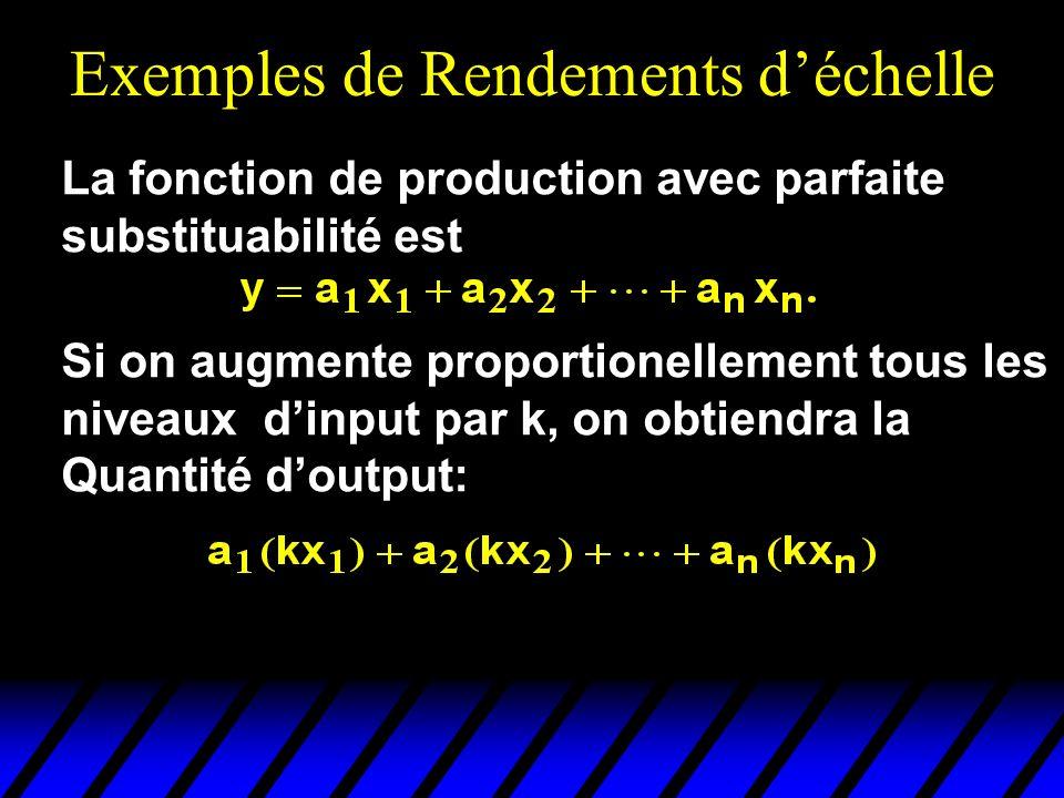Exemples de Rendements déchelle La fonction de production avec parfaite substituabilité est Si on augmente proportionellement tous les niveaux dinput